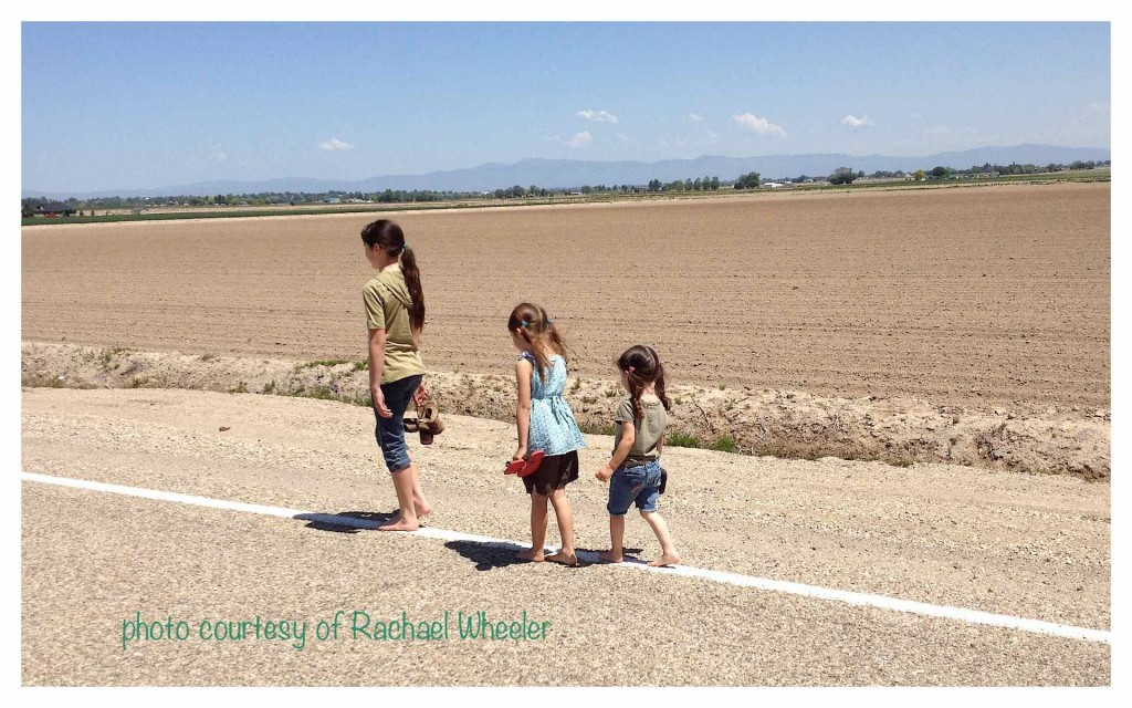 Kids can get used to walking barefoot on country, chip sealed roads.