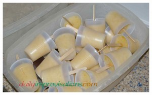 After the canned pear popsicles were frozen, they could jumble around in the plastic container all they wanted to.
