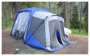 Our new Napier tent that can attach to the back of our Suburban or not.