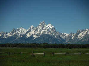 "The Grand Tetons from the ""lower"" outlying areas of approximately 6000 feet above sea level."