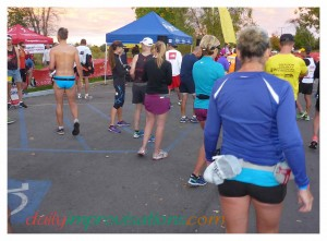 In spite of this man's choice of, or lack of, attire, my bare feet seemed of more real interest to the other runners.