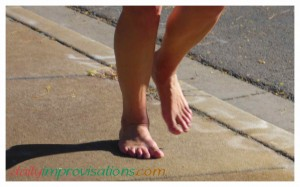 Strong bare feet running through parts of downtown Boise.
