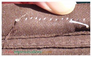 This is what the stitching looked like under the hat band.