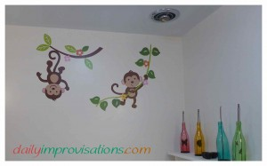 It is the monkey to the right in the photo that had an extra paw decal piece that I ended up using for a palm date.