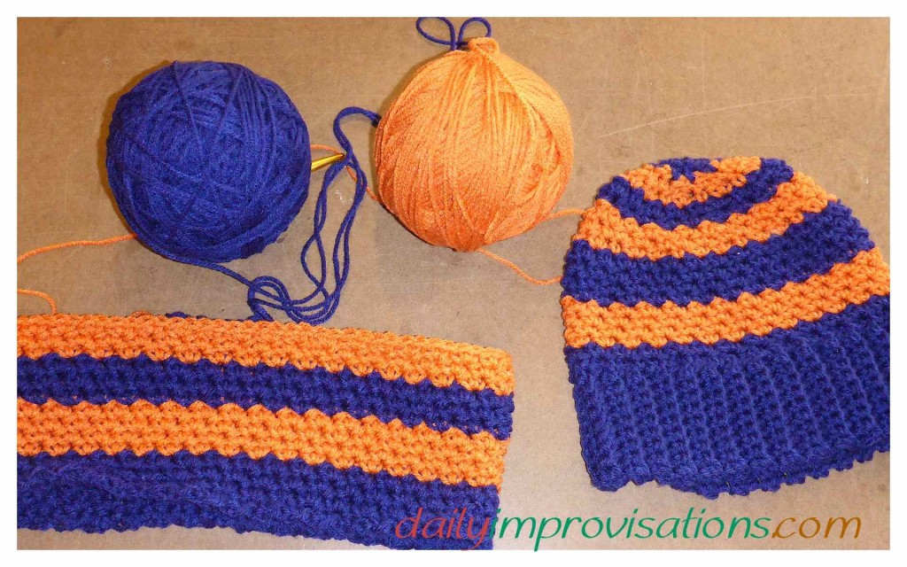 BSU crocheted hat and circular neck scarf set. The Neck scarf is still in progress.