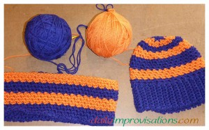BSU colors crocheted hat and circular neck scarf set. The Neck scarf is still in progress.