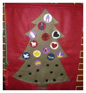 This is our flannel advent tree based on a project in Family Celebrations, by Ann Hibbard