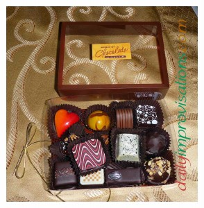 My box of delectable chocolates. No need to pack them for the trip home.