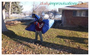 If a single person is doing all the work, it might be better to use a smaller tarp, at least for heavier loads. These leaves, however, posed no challenge.