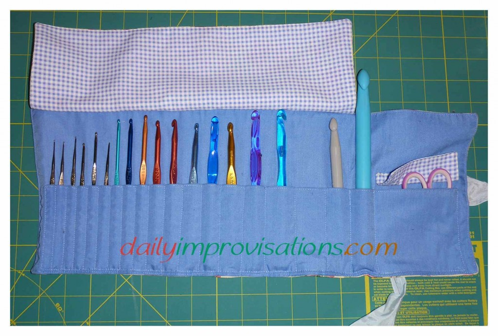 My finished crochet hook case, rolled open and flaps up!