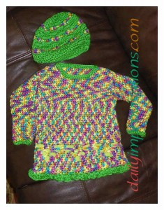 The ensemble crochet sweater with hat for a (roughly) size 2 toddler.
