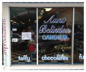 Aunt Belinda's Candies along Yaquina Bay front in Newport, Oregon