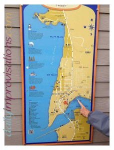 A helpful map of the Yaquina Bay area, with my dear mother-in-law pointing to the location of the shopping area we were in.
