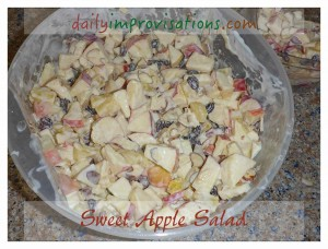 A crisp, lightly sweet apple salad is a perfect warm weather side dish; the yogurt based dressing will travel well for picnics.