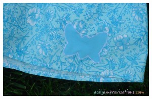 A simple butterfly shape applique from tracing a cookie cutter.