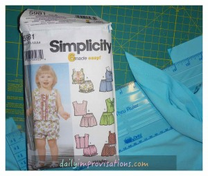 I used Simplicity pattern 5981 to make the outfits, but making my own knit binding for neck and arm holes.