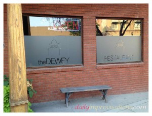 The now demolished Dewey Palace in etched in remembrance as part of the front window of the new Dewey Restaurant.