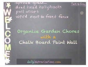 chalk board paint wall to organize garden chores
