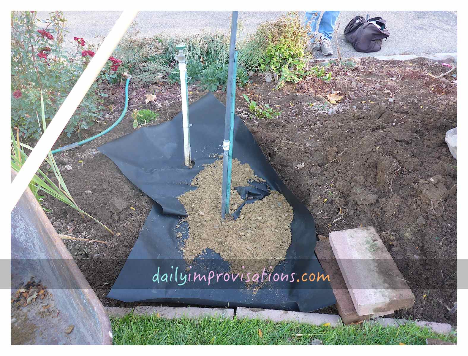 hardscaping for water faucet access in the garden. Black Bedroom Furniture Sets. Home Design Ideas