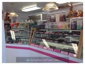 One section of what is available inside Palm Springs Fudge and Chocolates