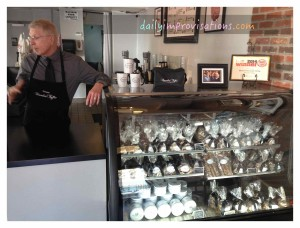 Inside the posh black and white Brandini Toffee shop. The clerk, Stephen Tifft, was very nice to talk to.