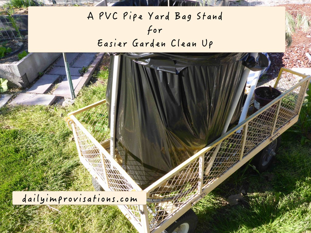 A PVC Pipe Yard Bag Stand for Easier Garden Clean Up