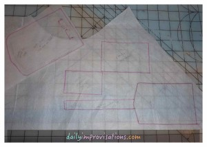 In case I didn't get to sewing it right away, I also traced the finished shape of the luggage tag pattern pieces
