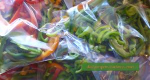 Sliced bell peppers in their bags for the freezer.