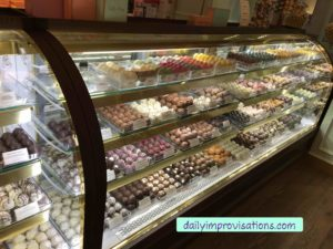 A long display of Lolli and Pops chocolates!