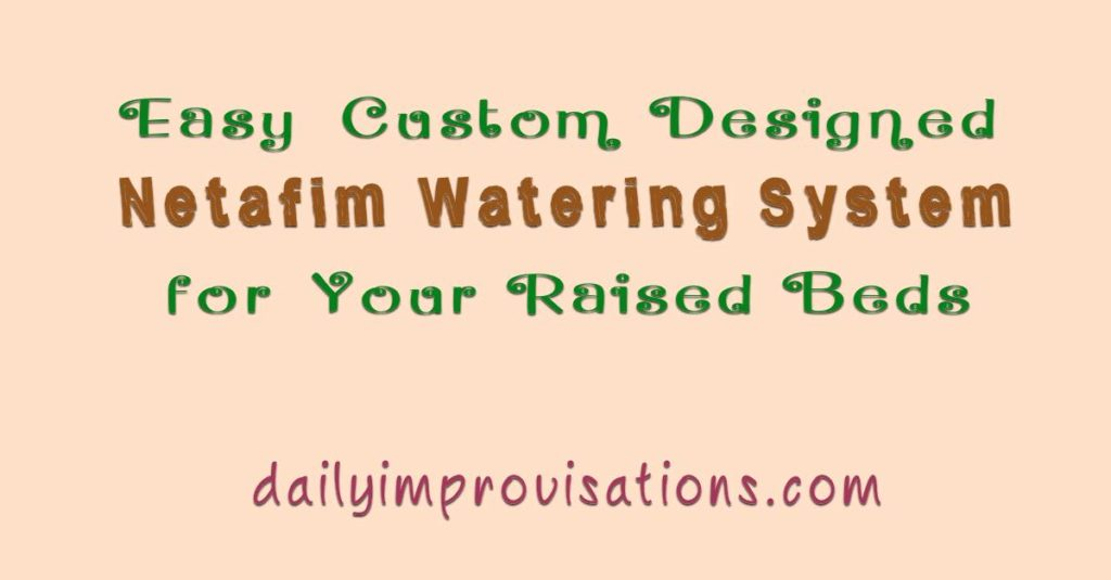 Easy Custom Designed Netafim Watering System for Your Raised Beds